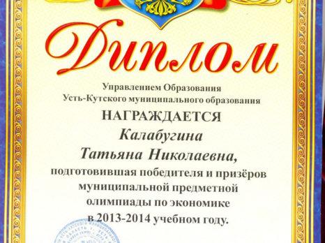 Диплом УКМО за подготовку победителя и призеров муниципальной предметной олимпиады по экономике в 2013-2014 уч.год