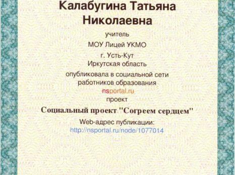 Свидетельство о публикации в электронном СМИ